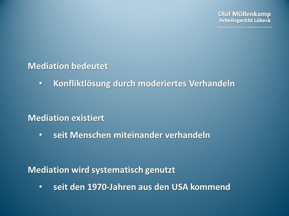 Olaf Möllenkamp Arbeitsgericht Lübeck Mediation bedeutet Konfliktlösung durch moderiertes Verhandeln Konfliktlösung durch moderiertes Verhandeln Media