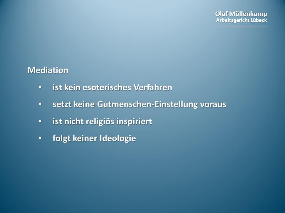 Olaf Möllenkamp Arbeitsgericht Lübeck Mediation ist kein esoterisches Verfahren ist kein esoterisches Verfahren setzt keine Gutmenschen-Einstellung vo