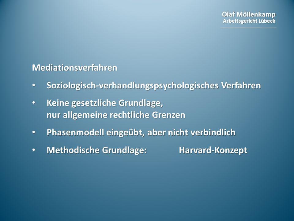 Olaf Möllenkamp Arbeitsgericht Lübeck Mediationsverfahren Soziologisch-verhandlungspsychologisches Verfahren Soziologisch-verhandlungspsychologisches