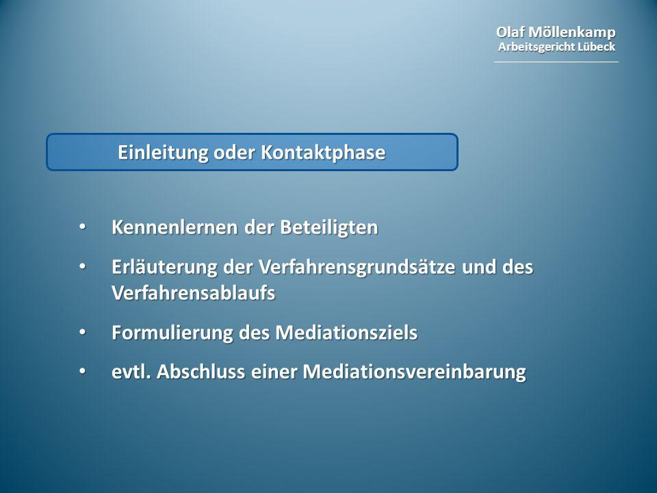 Olaf Möllenkamp Arbeitsgericht Lübeck Einleitung oder Kontaktphase Kennenlernen der Beteiligten Kennenlernen der Beteiligten Erläuterung der Verfahren