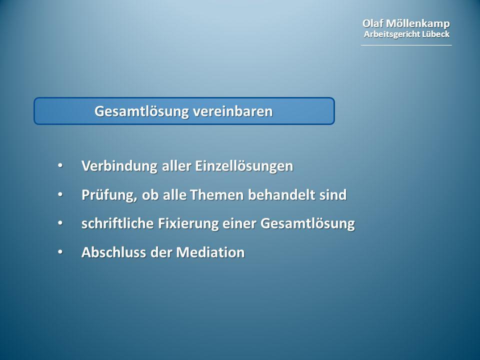Olaf Möllenkamp Arbeitsgericht Lübeck Gesamtlösung vereinbaren Verbindung aller Einzellösungen Verbindung aller Einzellösungen Prüfung, ob alle Themen