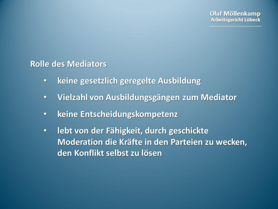 Olaf Möllenkamp Arbeitsgericht Lübeck Rolle des Mediators keine gesetzlich geregelte Ausbildung keine gesetzlich geregelte Ausbildung Vielzahl von Aus