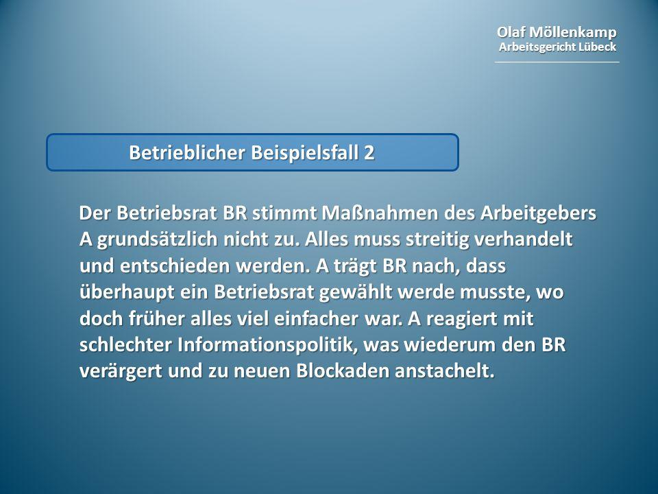 Olaf Möllenkamp Arbeitsgericht Lübeck Betrieblicher Beispielsfall 2 Der Betriebsrat BR stimmt Maßnahmen des Arbeitgebers A grundsätzlich nicht zu. All
