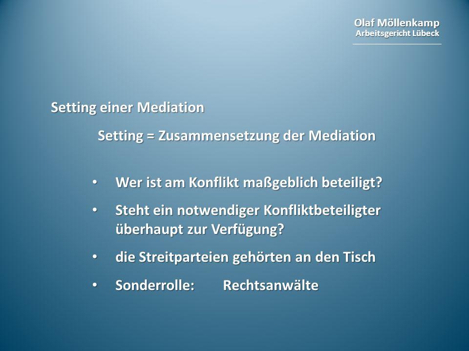 Olaf Möllenkamp Arbeitsgericht Lübeck Setting einer Mediation Setting = Zusammensetzung der Mediation Wer ist am Konflikt maßgeblich beteiligt? Wer is
