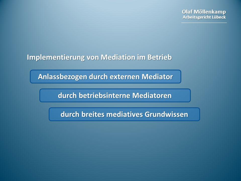 Olaf Möllenkamp Arbeitsgericht Lübeck Implementierung von Mediation im Betrieb Anlassbezogen durch externen Mediator durch betriebsinterne Mediatoren
