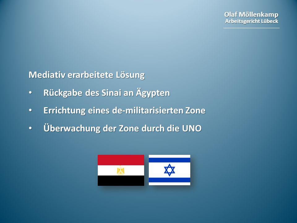 Olaf Möllenkamp Arbeitsgericht Lübeck Mediativ erarbeitete Lösung Rückgabe des Sinai an Ägypten Rückgabe des Sinai an Ägypten Errichtung eines de-mili