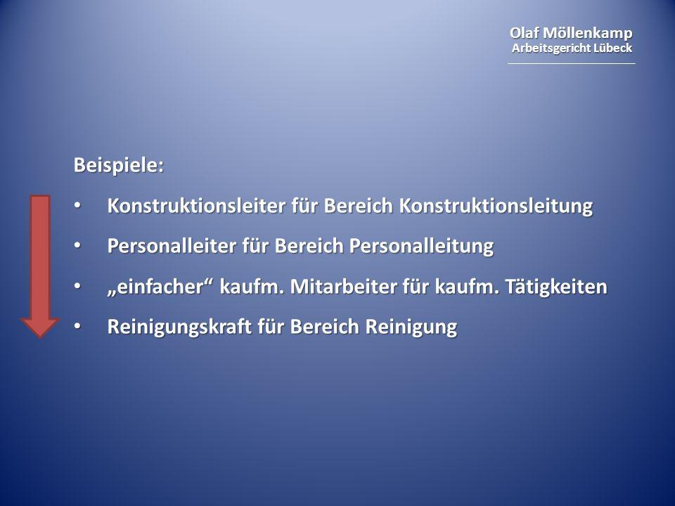 Olaf Möllenkamp Arbeitsgericht Lübeck Beispiele: Konstruktionsleiter für Bereich Konstruktionsleitung Konstruktionsleiter für Bereich Konstruktionslei