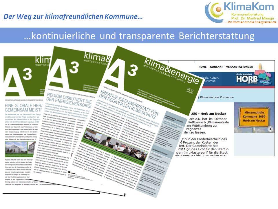 …Ihr Partner für die Energiewende …kontinuierliche und transparente Berichterstattung Der Weg zur klimafreundlichen Kommune…
