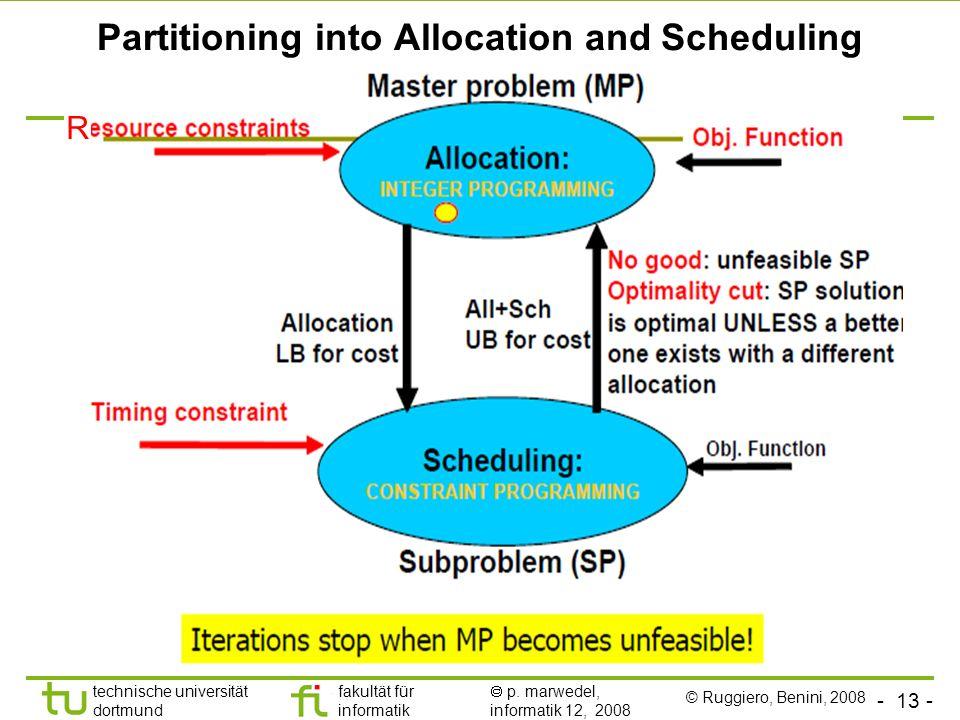 - 13 - technische universität dortmund fakultät für informatik p. marwedel, informatik 12, 2008 Partitioning into Allocation and Scheduling R © Ruggie