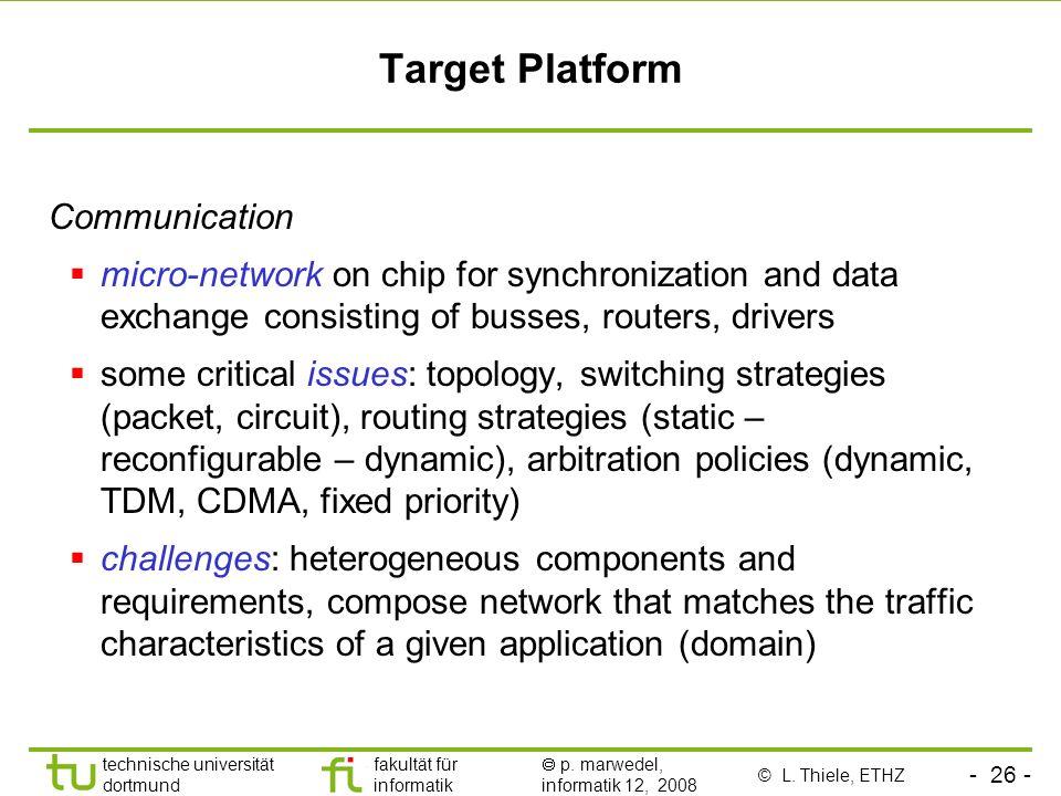 - 26 - technische universität dortmund fakultät für informatik p. marwedel, informatik 12, 2008 Target Platform Communication micro-network on chip fo
