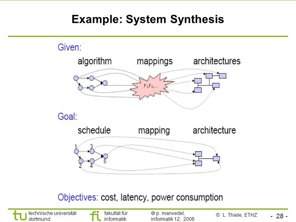 - 28 - technische universität dortmund fakultät für informatik p. marwedel, informatik 12, 2008 Example: System Synthesis © L. Thiele, ETHZ