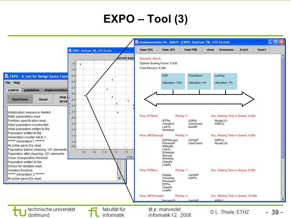 - 39 - technische universität dortmund fakultät für informatik p. marwedel, informatik 12, 2008 EXPO – Tool (3) © L. Thiele, ETHZ