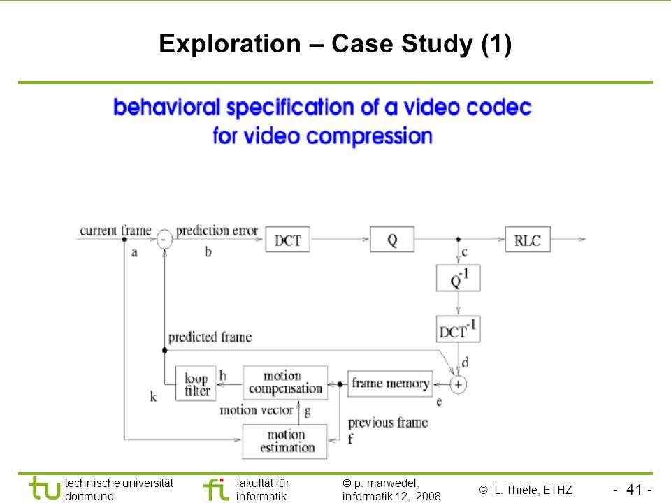- 41 - technische universität dortmund fakultät für informatik p. marwedel, informatik 12, 2008 Exploration – Case Study (1) © L. Thiele, ETHZ