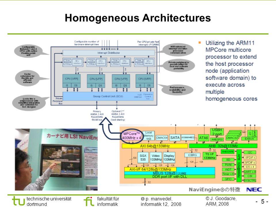 - 5 - technische universität dortmund fakultät für informatik p. marwedel, informatik 12, 2008 Homogeneous Architectures © J. Goodacre, ARM, 2008