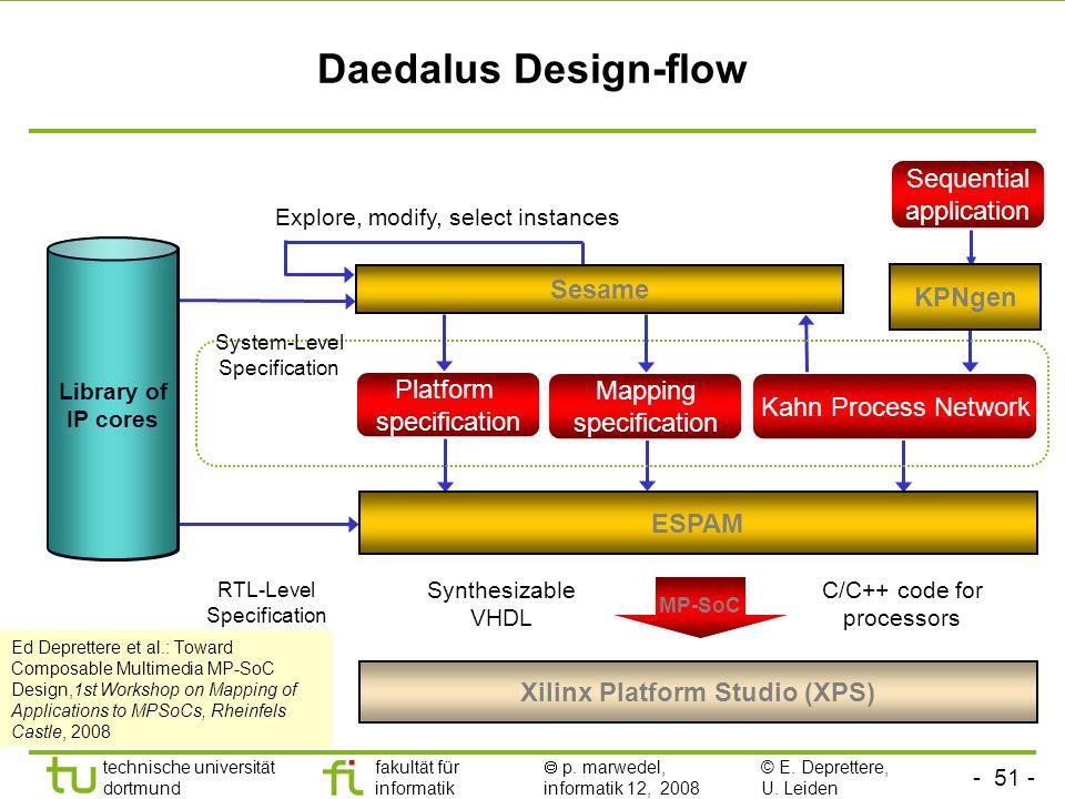 - 51 - technische universität dortmund fakultät für informatik p. marwedel, informatik 12, 2008 Daedalus Design-flow System-level synthesis Library of