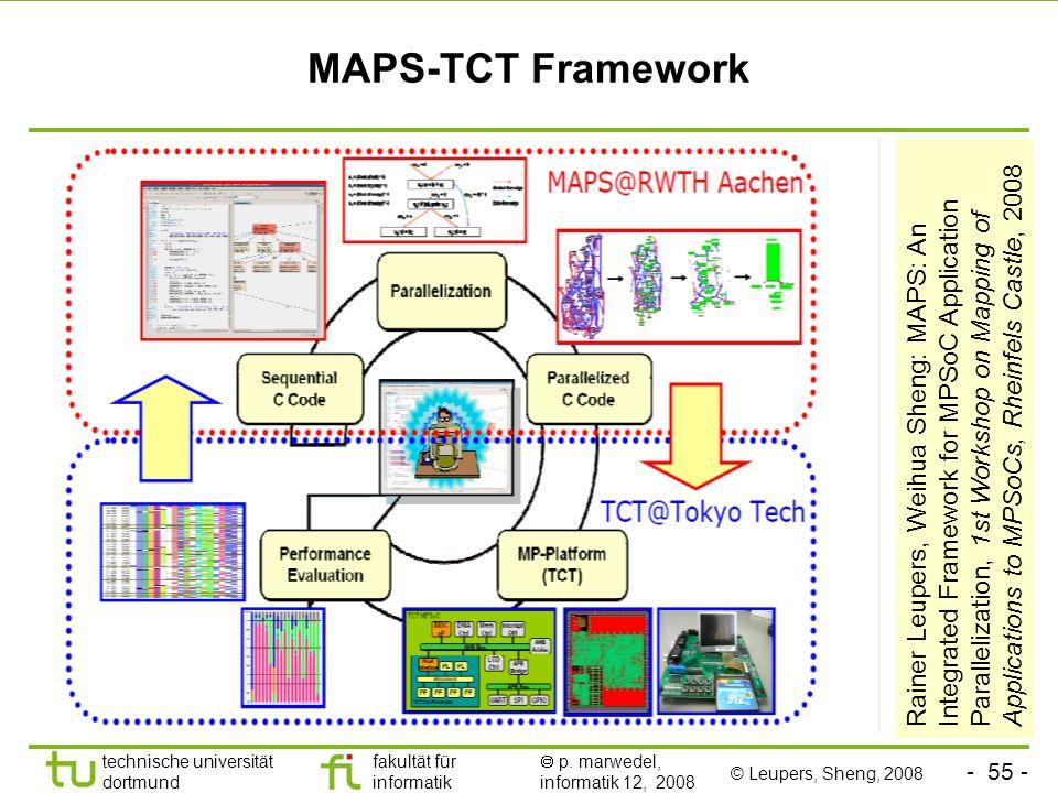 - 55 - technische universität dortmund fakultät für informatik p. marwedel, informatik 12, 2008 MAPS-TCT Framework Rainer Leupers, Weihua Sheng: MAPS: