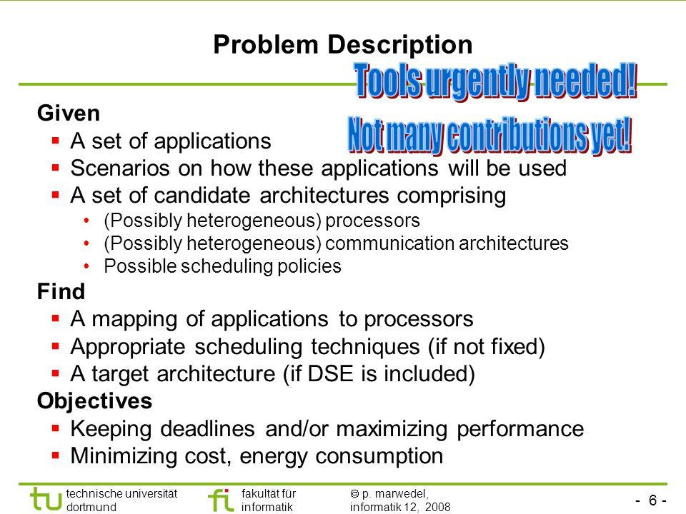 - 6 - technische universität dortmund fakultät für informatik p. marwedel, informatik 12, 2008 Problem Description Given A set of applications Scenari