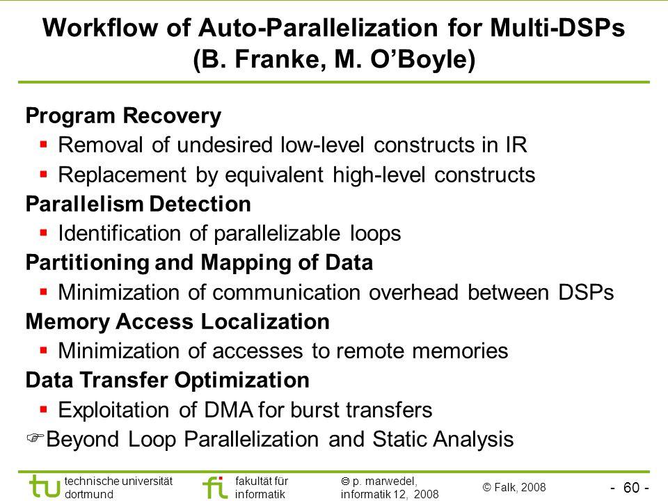 - 60 - technische universität dortmund fakultät für informatik p. marwedel, informatik 12, 2008 Workflow of Auto-Parallelization for Multi-DSPs (B. Fr
