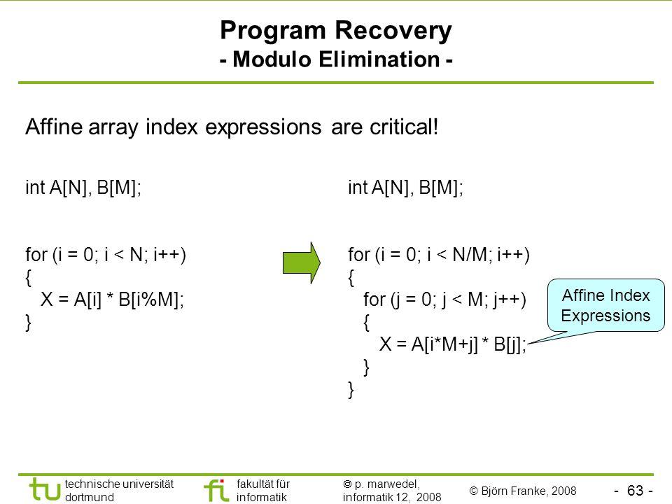 - 63 - technische universität dortmund fakultät für informatik p. marwedel, informatik 12, 2008 Program Recovery - Modulo Elimination - int A[N], B[M]