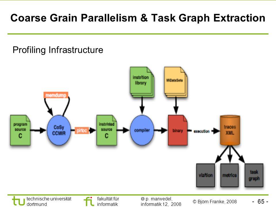- 65 - technische universität dortmund fakultät für informatik p. marwedel, informatik 12, 2008 Coarse Grain Parallelism & Task Graph Extraction Profi