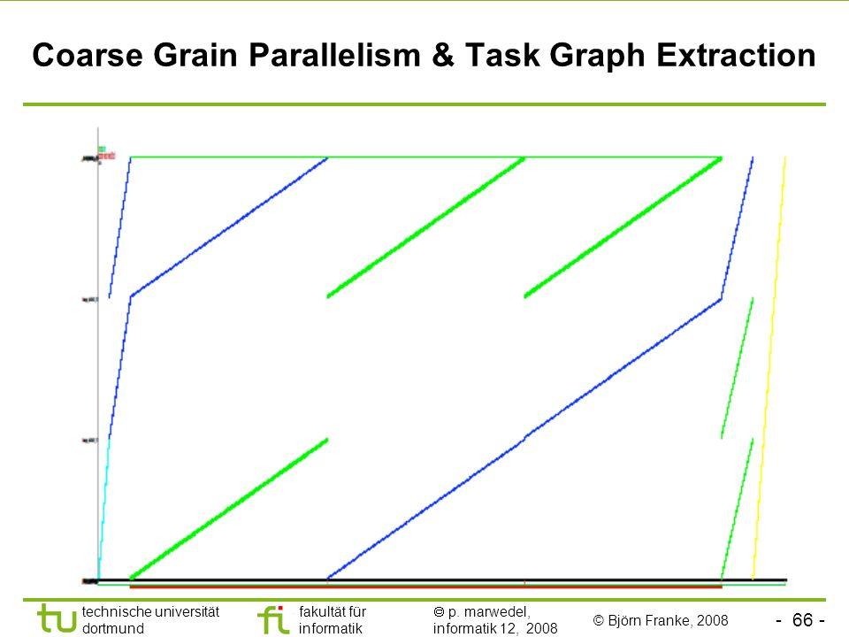- 66 - technische universität dortmund fakultät für informatik p. marwedel, informatik 12, 2008 Coarse Grain Parallelism & Task Graph Extraction © Bjö