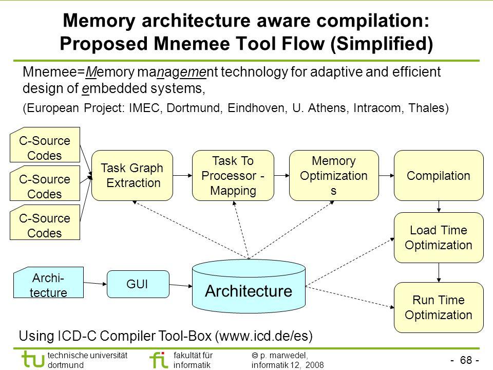 - 68 - technische universität dortmund fakultät für informatik p. marwedel, informatik 12, 2008 Memory architecture aware compilation: Proposed Mnemee