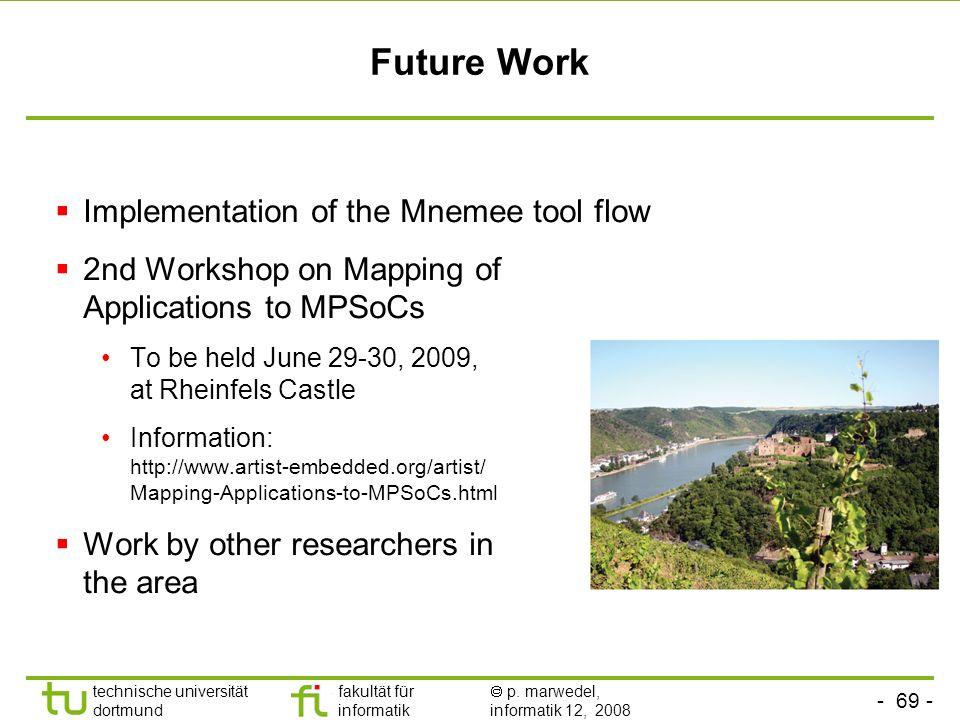 - 69 - technische universität dortmund fakultät für informatik p. marwedel, informatik 12, 2008 Future Work Implementation of the Mnemee tool flow 2nd