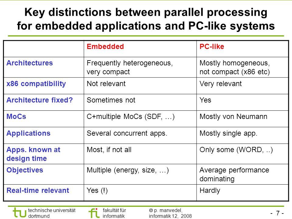 - 7 - technische universität dortmund fakultät für informatik p. marwedel, informatik 12, 2008 Key distinctions between parallel processing for embedd