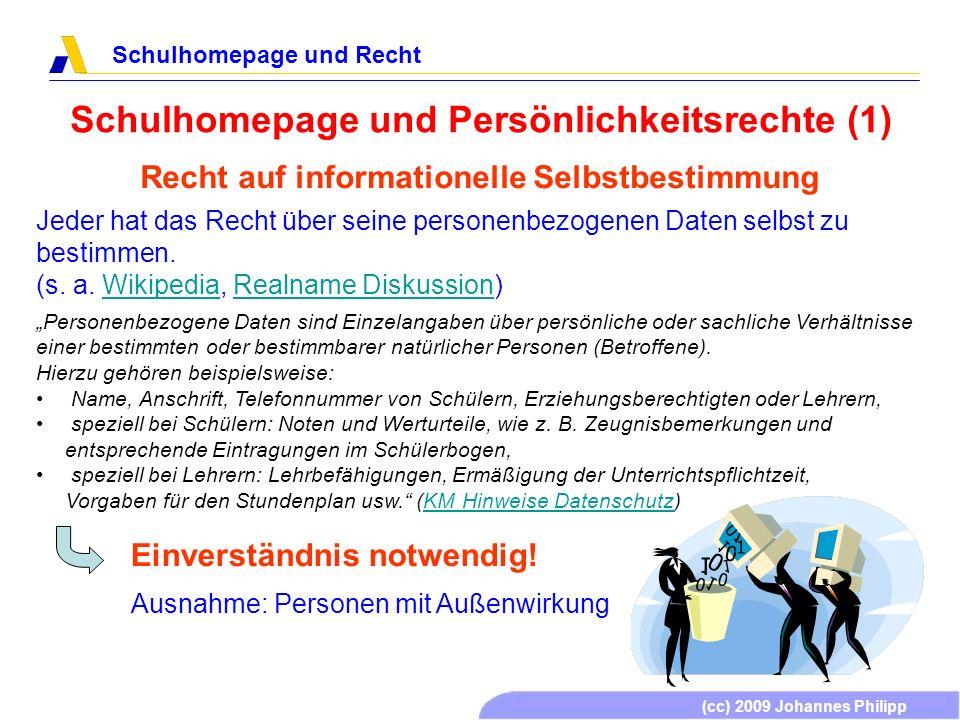 (cc) 2009 Johannes Philipp Schulhomepage und Recht Schulhomepage und Persönlichkeitsrechte (1) Recht auf informationelle Selbstbestimmung Jeder hat da