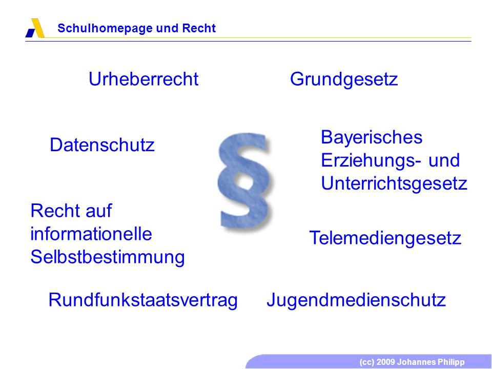 (cc) 2009 Johannes Philipp Schulhomepage und Recht Urheberrecht Datenschutz Grundgesetz Telemediengesetz Bayerisches Erziehungs- und Unterrichtsgesetz