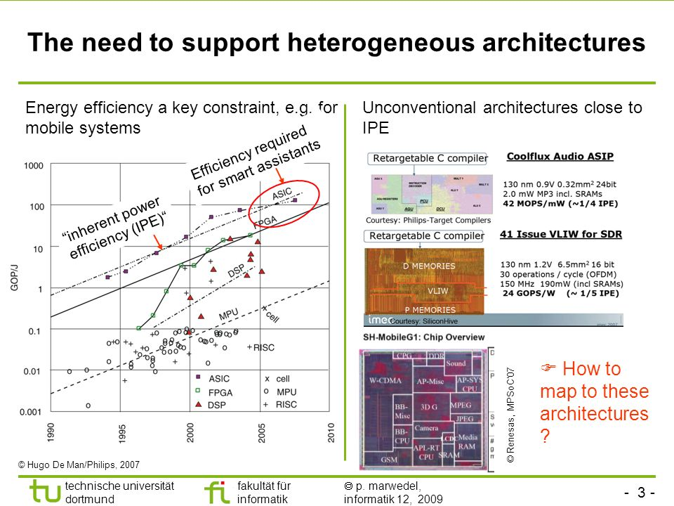 - 3 - technische universität dortmund fakultät für informatik p. marwedel, informatik 12, 2009 The need to support heterogeneous architectures Energy