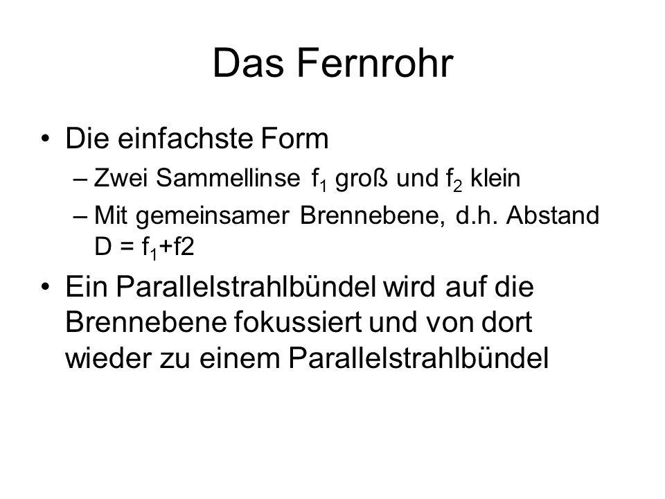 Das Fernrohr Die einfachste Form –Zwei Sammellinse f 1 groß und f 2 klein –Mit gemeinsamer Brennebene, d.h. Abstand D = f 1 +f2 Ein Parallelstrahlbünd