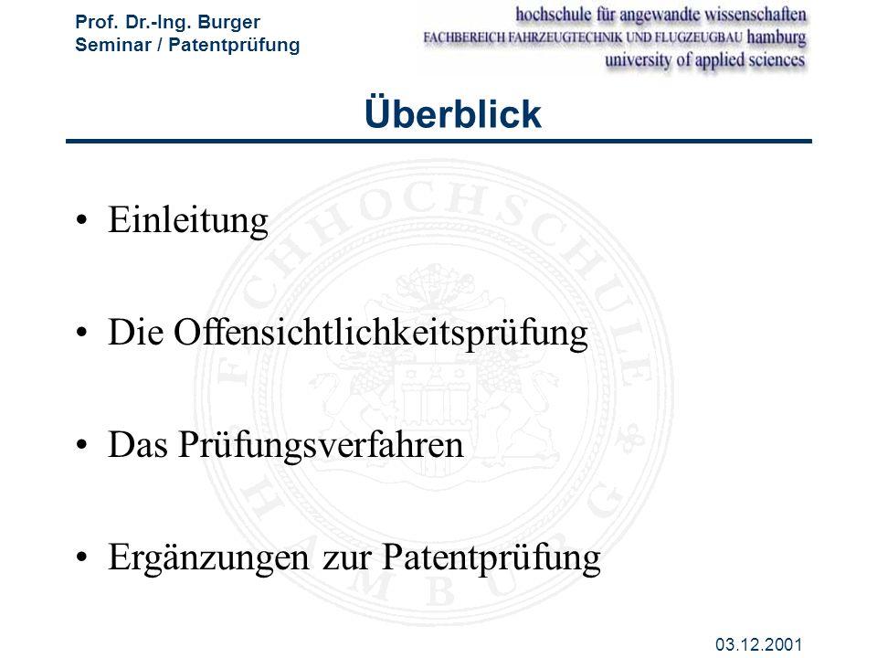 Prof. Dr.-Ing. Burger Seminar / Patentprüfung 03.12.2001 Einleitung Die Offensichtlichkeitsprüfung Das Prüfungsverfahren Ergänzungen zur Patentprüfung