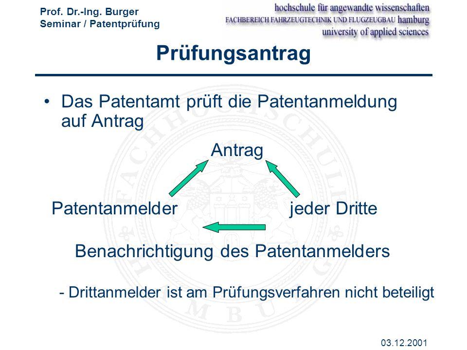 Prof. Dr.-Ing. Burger Seminar / Patentprüfung 03.12.2001 Prüfungsantrag Das Patentamt prüft die Patentanmeldung auf Antrag Antrag Benachrichtigung des