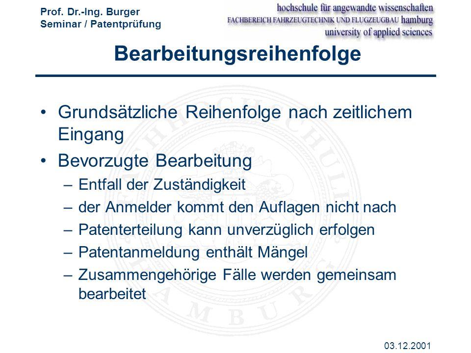 Prof. Dr.-Ing. Burger Seminar / Patentprüfung 03.12.2001 Bearbeitungsreihenfolge Grundsätzliche Reihenfolge nach zeitlichem Eingang Bevorzugte Bearbei
