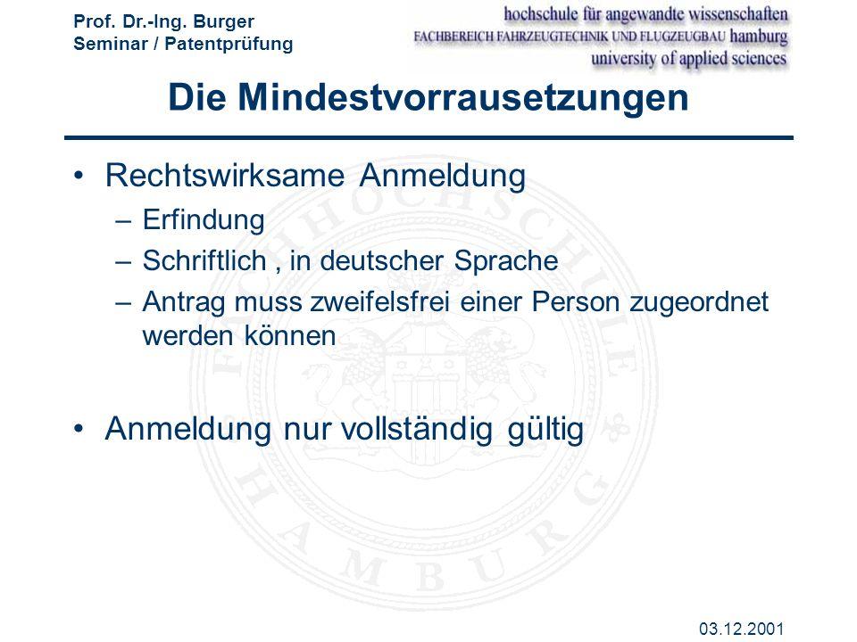Prof. Dr.-Ing. Burger Seminar / Patentprüfung 03.12.2001 Die Mindestvorrausetzungen Rechtswirksame Anmeldung –Erfindung –Schriftlich, in deutscher Spr