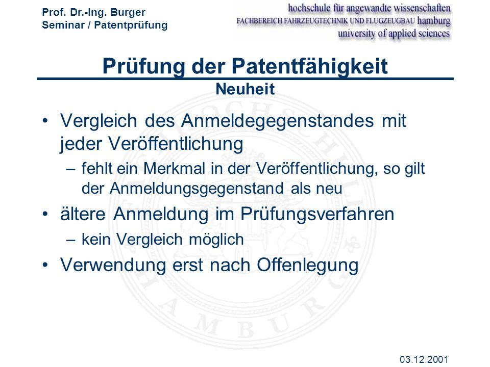 Prof. Dr.-Ing. Burger Seminar / Patentprüfung 03.12.2001 Prüfung der Patentfähigkeit Neuheit Vergleich des Anmeldegegenstandes mit jeder Veröffentlich