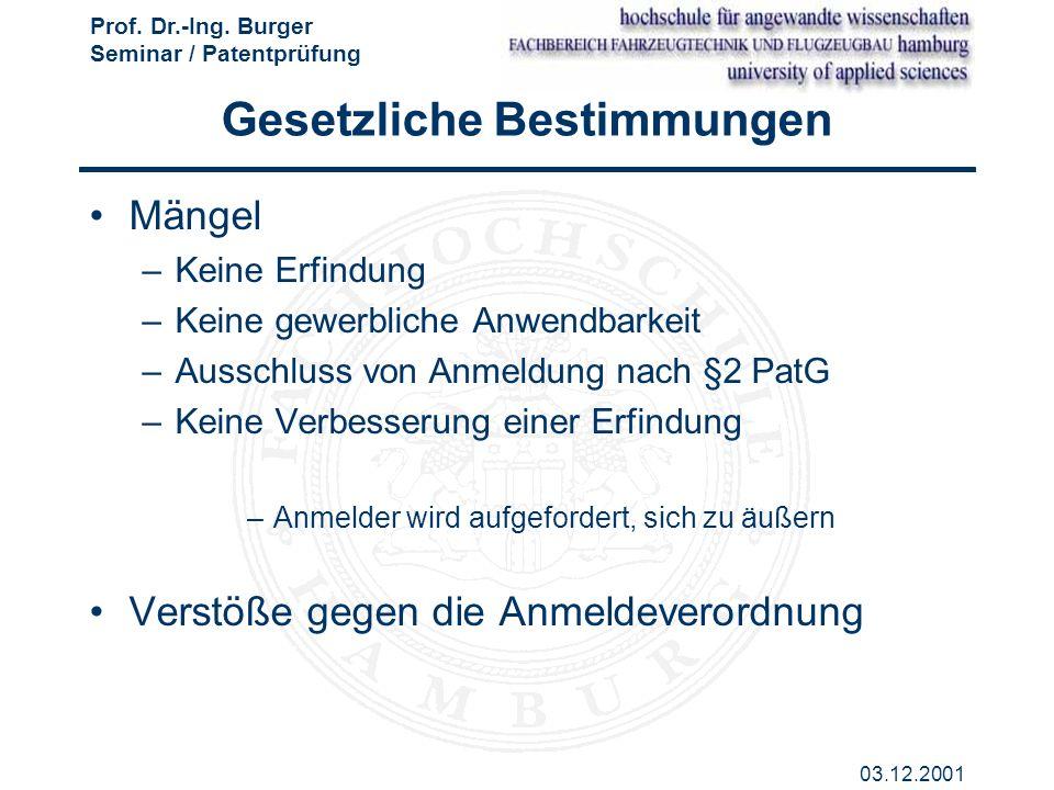 Prof. Dr.-Ing. Burger Seminar / Patentprüfung 03.12.2001 Gesetzliche Bestimmungen Mängel –Keine Erfindung –Keine gewerbliche Anwendbarkeit –Ausschluss