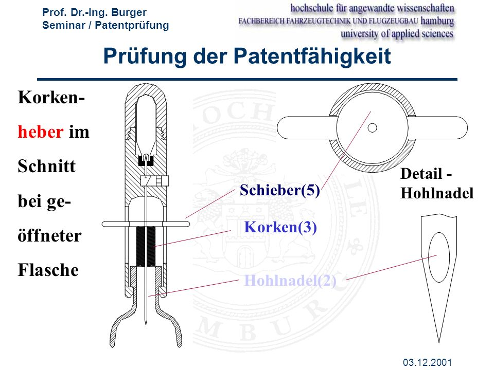 Prof. Dr.-Ing. Burger Seminar / Patentprüfung 03.12.2001 Korken- heber im Schnitt bei ge- öffneter Flasche Schieber(5) Korken(3) Hohlnadel(2) Detail -
