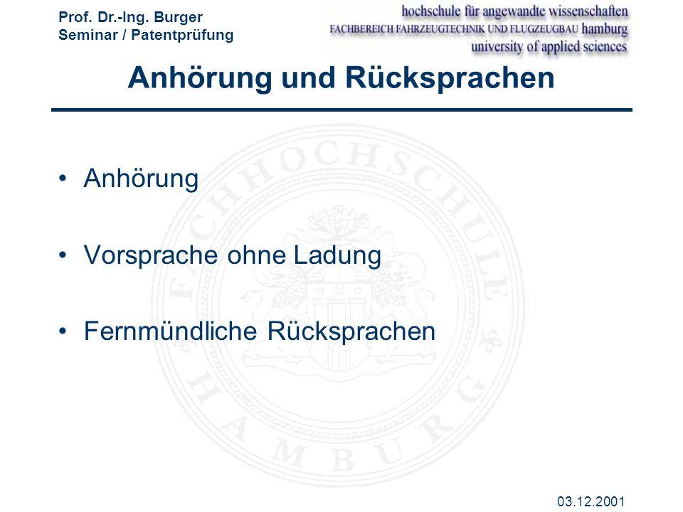 Prof. Dr.-Ing. Burger Seminar / Patentprüfung 03.12.2001 Anhörung und Rücksprachen Anhörung Vorsprache ohne Ladung Fernmündliche Rücksprachen