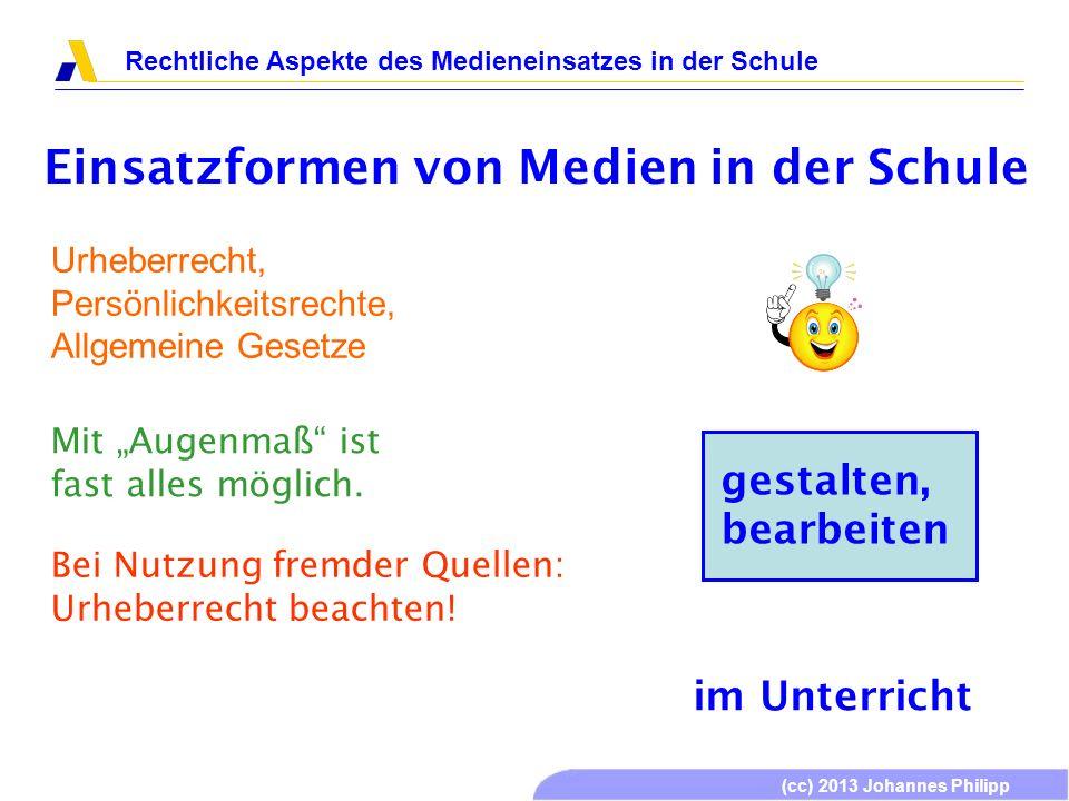 (cc) 2013 Johannes Philipp Rechtliche Aspekte des Medieneinsatzes in der Schule Einsatzformen von Medien in der Schule gestalten, bearbeiten im Unterr