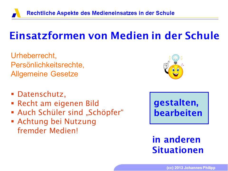 (cc) 2013 Johannes Philipp Rechtliche Aspekte des Medieneinsatzes in der Schule Einsatzformen von Medien in der Schule gestalten, bearbeiten Urheberre