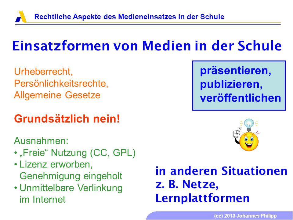 (cc) 2013 Johannes Philipp Rechtliche Aspekte des Medieneinsatzes in der Schule Einsatzformen von Medien in der Schule präsentieren, publizieren, verö