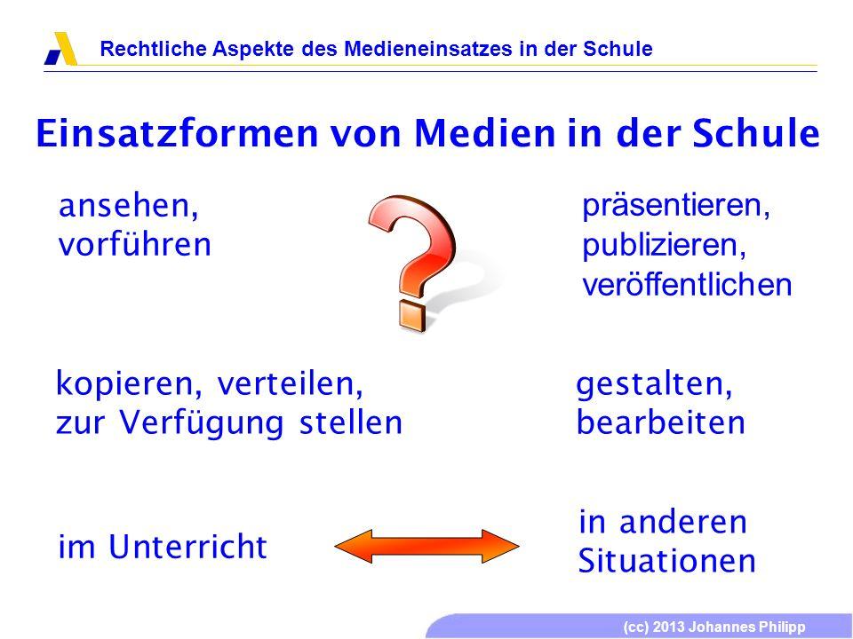 (cc) 2013 Johannes Philipp Rechtliche Aspekte des Medieneinsatzes in der Schule Einsatzformen von Medien in der Schule präsentieren, publizieren, veröffentlichen im Unterricht Urheberrecht, Persönlichkeitsrechte, Allgemeine Gesetze Mit Augenmaß ist fast alles möglich.