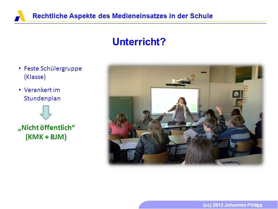(cc) 2013 Johannes Philipp Rechtliche Aspekte des Medieneinsatzes in der Schule Unterricht? Feste Schülergruppe (Klasse) Verankert im Stundenplan Nich
