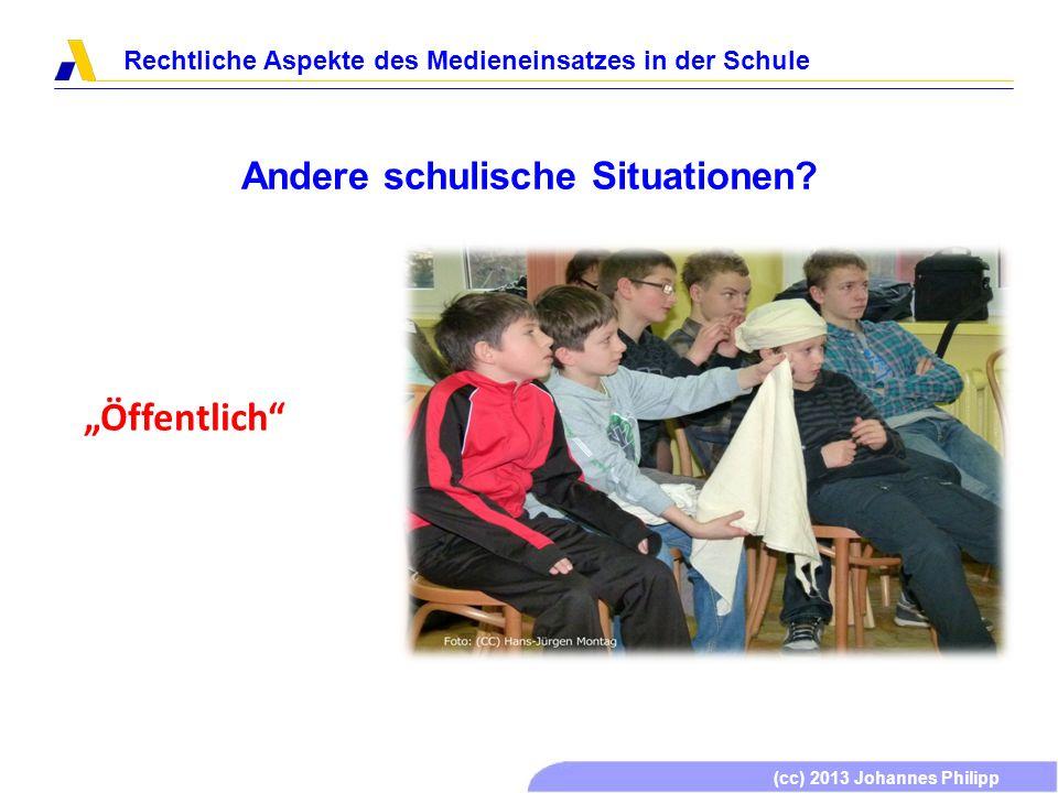 (cc) 2013 Johannes Philipp Rechtliche Aspekte des Medieneinsatzes in der Schule Einsatzformen von Medien in der Schule Dieses Werk ist unter einem Creative Commons Namensnennung-Keine kommerzielle Nutzung-Weitergabe unter gleichen Bedingungen 3.0 Deutschland Lizenzvertrag lizenziert.