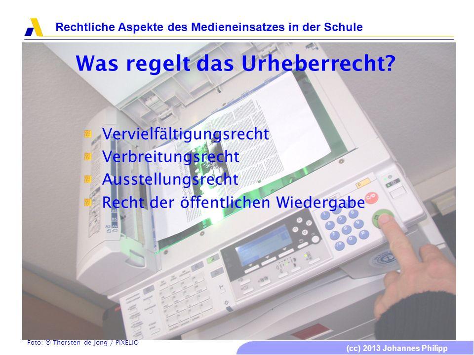 (cc) 2013 Johannes Philipp Rechtliche Aspekte des Medieneinsatzes in der Schule Was regelt das Urheberrecht? Vervielfältigungsrecht Verbreitungsrecht