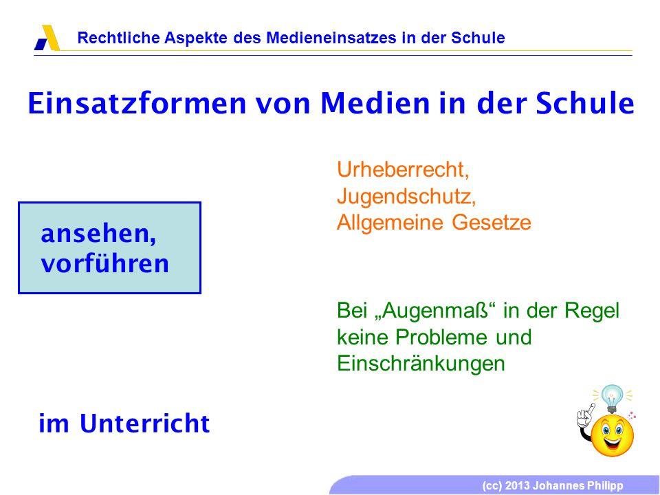 (cc) 2013 Johannes Philipp Rechtliche Aspekte des Medieneinsatzes in der Schule Einsatzformen von Medien in der Schule ansehen, vorführen Urheberrecht, Jugendschutz, Allgemeine Gesetze Grundsätzlich möglich.