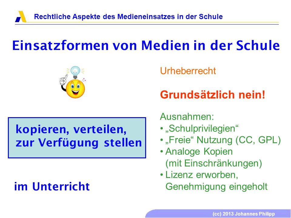(cc) 2013 Johannes Philipp Rechtliche Aspekte des Medieneinsatzes in der Schule Einsatzformen von Medien in der Schule kopieren, verteilen, zur Verfügung stellen Grundsätzlich nein.