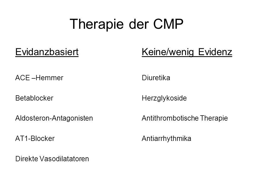 Therapie der CMP EvidanzbasiertKeine/wenig Evidenz ACE –HemmerDiuretika BetablockerHerzglykoside Aldosteron-AntagonistenAntithrombotische Therapie AT1